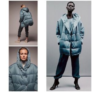 Zara Hooded Double Breasted Quilted Puffer Coat XL